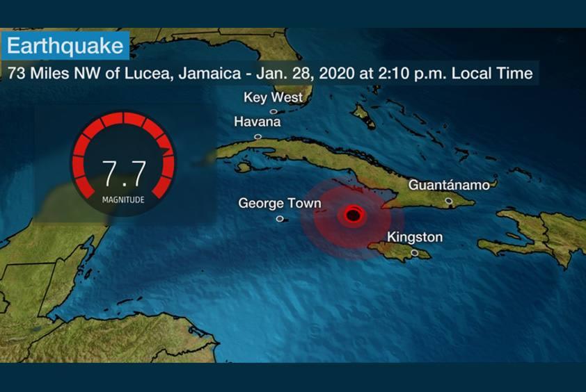 1/28(火)14:10 カリブ海ジャマイカ沖で、マグニチュード7.7の地震がありました。